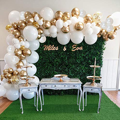 AlexBasic Party Balloons 112 Pcs White & Gold Metallic Latex Arch with Decorating Garland Strip Glue Dots for Wedding Baby Shower