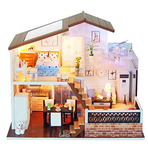 Yamart Dollhouse Miniature with Furniture Christmas 4D Wooden DIY House LED Puzzle Decorate Creative Gifts