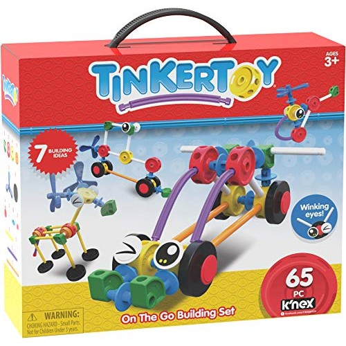 Tinkertoy On The Go Building Set – 65 Parts Ages 3 & Up Creative Preschool Toy