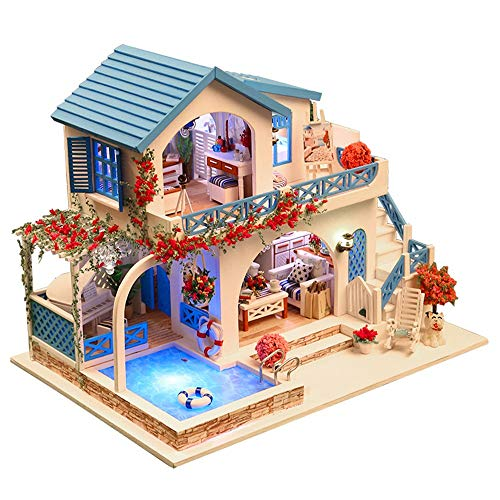 DIGOOD DIY Dollhouse Miniature Kit Home Warm Time Wooden Furniture LED Light Gift House Toy White Blue Town