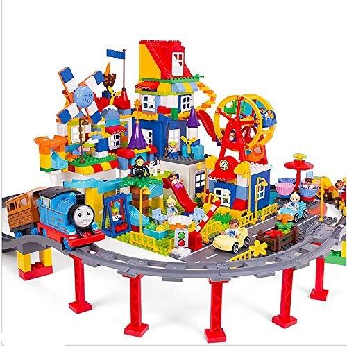Qi Peng Assembling Building Blocks Toys – Big Particles Children's Playground Train Toys Children's Luxury Gift 520 Granule Box Set Wooden Block