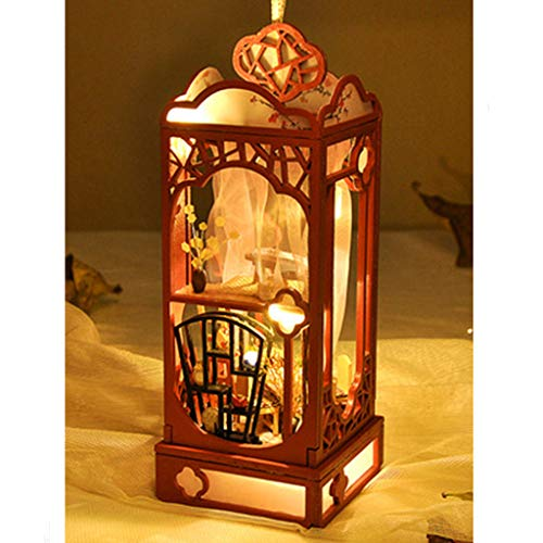 Nesee 3D Wooden DIY Miniature House Furniture LED Puzzle Decorate Creative Gifts for Wedding Party Holiday Bedroom Home Garden Decor A