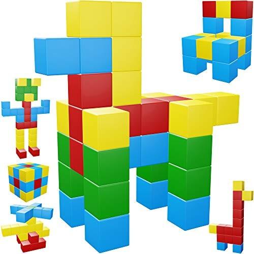 Intock Magnetic Blocks 40 Pieces Set Pcs Cubes Assorted Colors Innovative Design Unlimited Imagination Building For Kids Autism Toys Magic Cube Sensory
