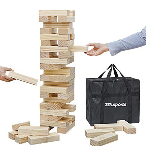ZENY 54 Pieces Giant Tumbling Timbers Toppling Tower Extra Large Wood Block Stacking Games Building Blocks Yard Game for KidsAdultsBuild to 5 Feet