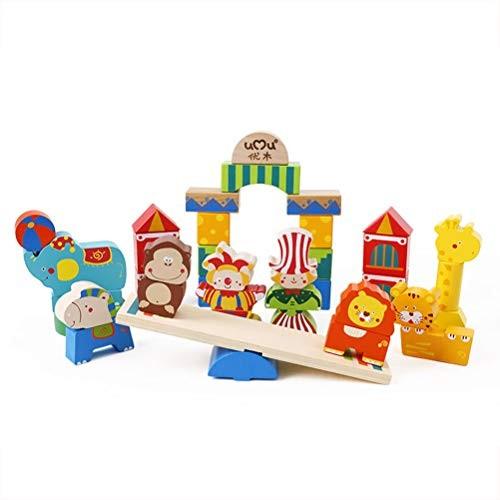 Toyvian Wooden Stacking Block Preschool Kindergarten Construction Building Toy for Kids