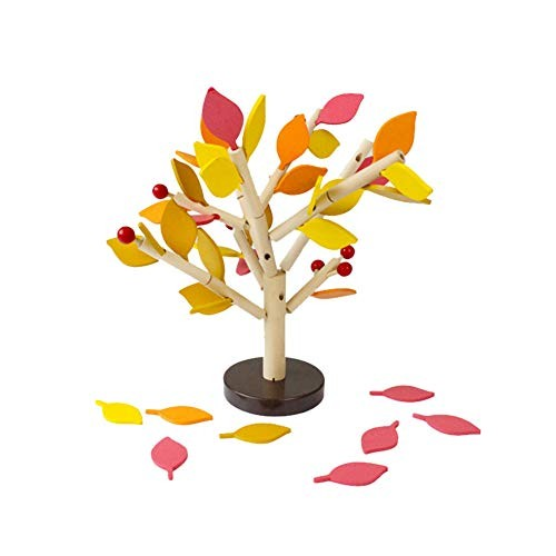 MoGist 3D Wooden Tree Puzzle Toy Assemble DIY Leaves Inserted Educational Building Blocks Jigsaw Puzzles for Grown Ups Children Yellow
