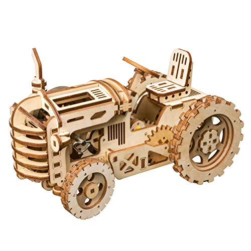 RoWood 3D Wooden Puzzle Brain Teaser Craft Toy Gift for Her & Him Spring Drive Mechanical Gear DIY Model Building Kits – Tractor