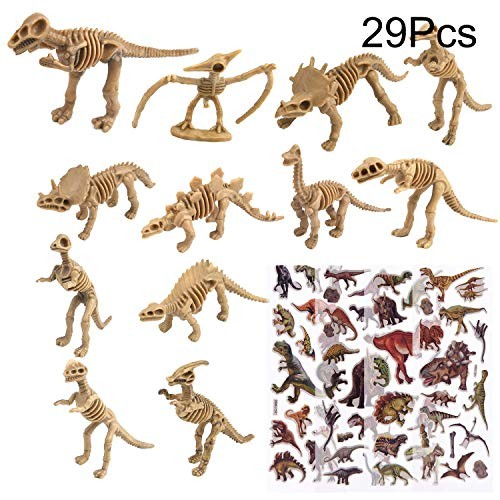 TUPARKA 24Pcs Dinosaur Fossil Skeleton with 5 Sheet StickersAssorted Toy Figures Party Favors for Kids