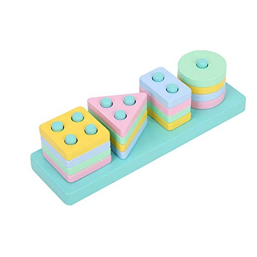 MoGist Shape Matching Sorting Toys Stacking Toy Building Blocks Wooden Educational Toddler Geometric Shapes Block Board Plugging Style-1
