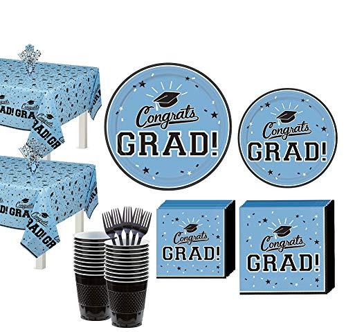 Party City Powder Blue Congrats Grad 2020 Graduation Supplies for 36 Guests Tableware