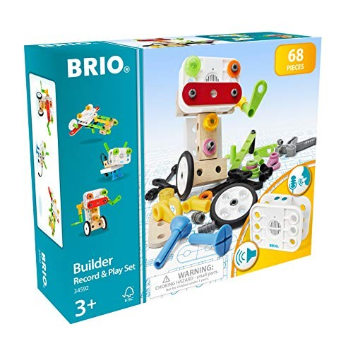 Brio Builder 34592 – Record and Play Set 67-Piece Construction STEM Toy with Wood Plastic Pieces a Sound Recorder for Kids Age 3 Up