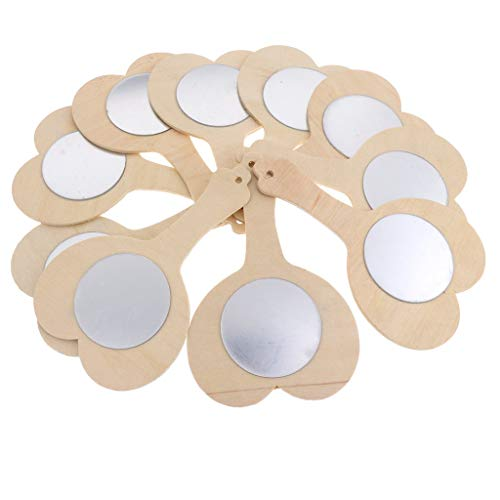 FRECI 10pcs Wooden Handheld Mirror Unfinished Toys for Kids DIY Wood Crafts Toy – Heart