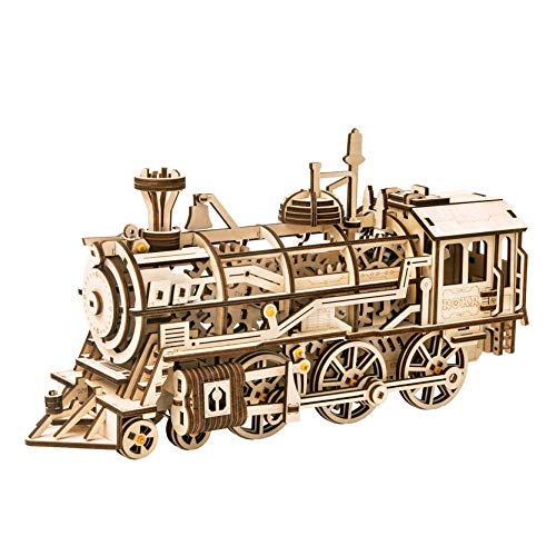 RoWood Mechanical Gear 3D Wooden Puzzle Craft Toy Gift for Adults Men Women Age 14+ Train Engine DIY Model Building Kits – Locomotive