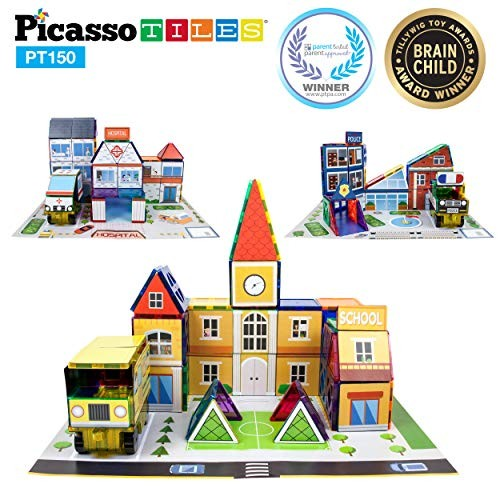 PicassoTiles 3-in-1 Theme Set School Hospital Police Station Magnet Self Adhesive Backing Stick-On Sheet Combo w Car Building Block Playset STEM Learning Construction Brain Development Kit