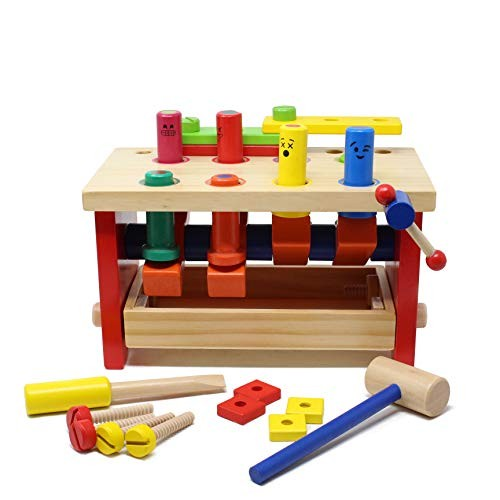 Wooden Pounding Bench Classic Tool Toy with Hammer Kids Building Set