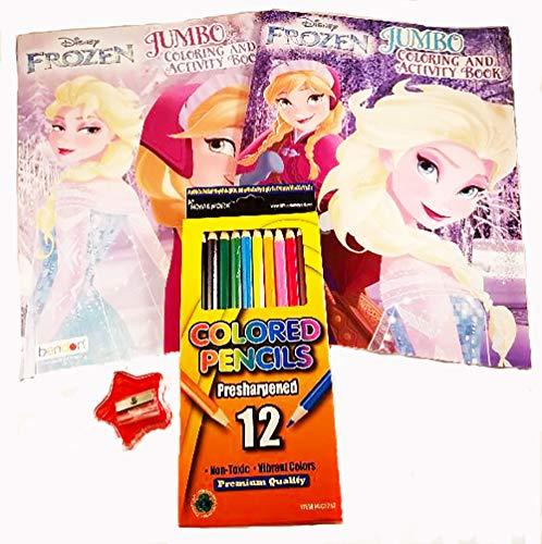 - Stuff N Junk 2 Disney Frozen Jumbo Coloring And Activity Bundle 4 Coloring  Books 12pk Color Pencils Plus A Free Pencil Sharpener - Educational Toys  Planet