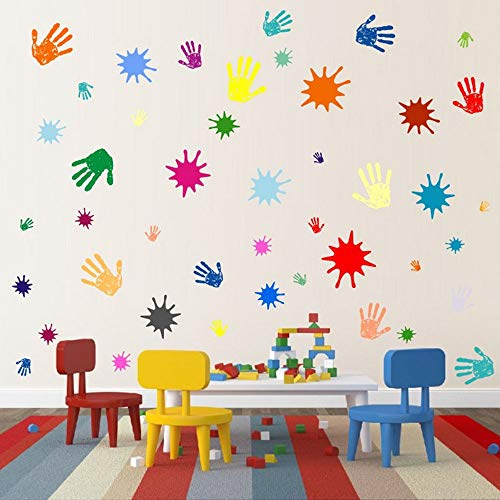 Primary Colors Wall Decals for Kids Room Colorful Paint Splash Handprints Art Removable Playroom Nursery Decor Stickers
