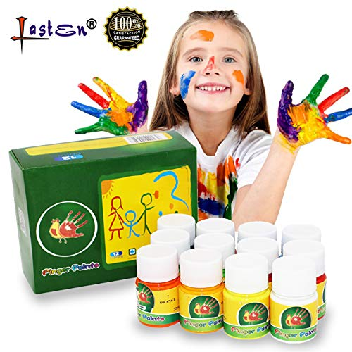 Lasten Washable Finger Paint Set for Kids Toddlers Non-Toxic Eco-Friendly Bright Painting DIY Crafts 12 Color