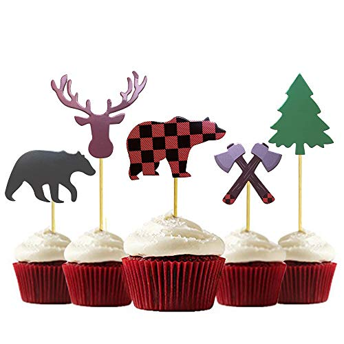 30-Pack Lumberjack Cupcake Toppers Buffalo Plaid Baby Bear Tree Topper for Campfire Party Supplies Shower Dcoration