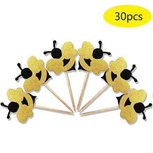 ALISSAR 30-Pack Glitter Bumble Bee Cupcake Toppers Baby Gender Reveal Shower Party Cake Food Decoration Supplies