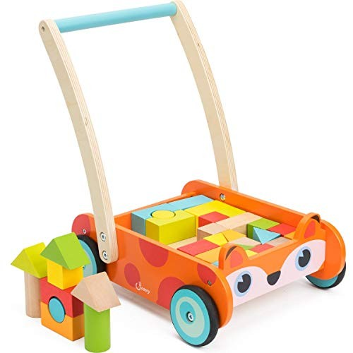 cossy Wooden Baby Learning Walker Toddler Toys for 1 Year Old and up Fox Blocks Roll Cart Push Toy 35 pcs Updated Version