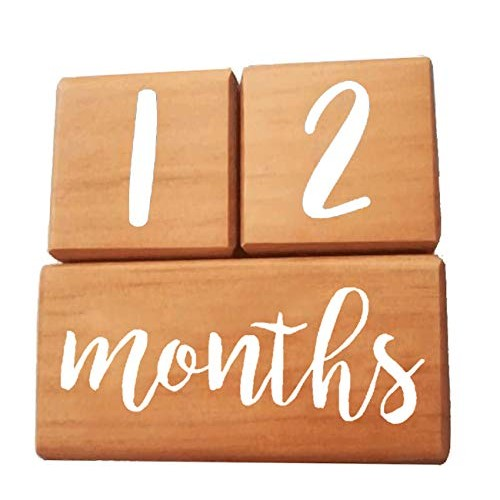 Premium Solid Wood Milestone Age Blocks for Newborn Infant Toddler Boy & Girl Baby Photo Wooden Unique Shower Gift New Mom