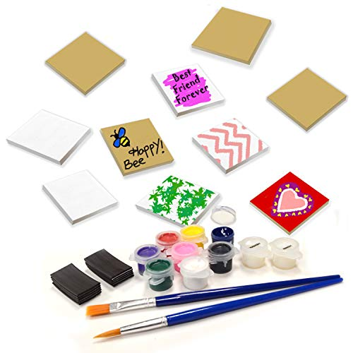 VHALE Paint Your Own Magnetic Fiberboard Tile Art 10 Sets of MDF Tiles 25 x 25 inch with Non Scratch Magnets Fridge and School Locker Decor Classroom Arts Crafts Party Favor for Kids