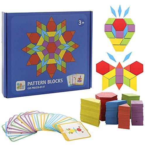 Wooden Building Blocks Set 155 Pcs Developmental Toy Geometry Creative Educational Learning Intelligence Tangram Puzzle Jigsaw for Girls and Boys