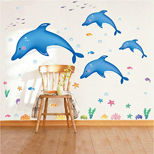 Home Decoration Wall Stickers Cute Dolphin Sticker Kids Room Decorate Bathroom WaterproofWall Decals DIY Decors Self-adhesive art bedroom