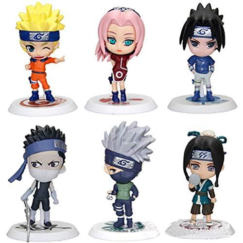 LBJ 6 Piece Naruto Figurine Set Haku Uzimaki Zabuza Momochi Kakashi Hatake Sasuke Uchiha and Sakura Haruno
