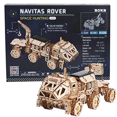 ROKR 3D Wooden Puzzle Solar Power Toy STEM Project NAVITAS Rover