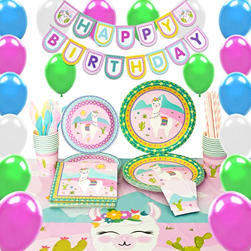 WERNNSAI Llama Party Supplies Set – Cactus Pink Decorations for Girl Kids Birthday Banner Balloons Cutlery Bag Table Cover Plates Cups Napkins Straws Utensils 16 Guests 169PCS