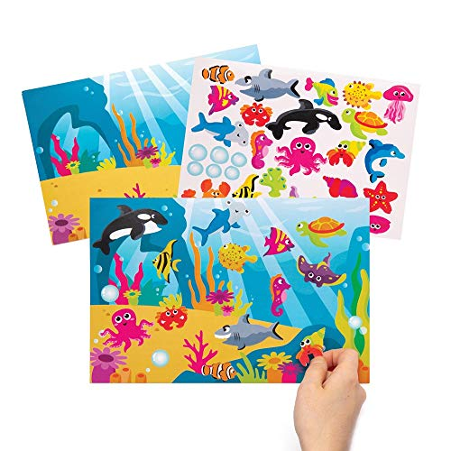 Baker Ross Sea Life Reusable Sticker Scenes Pack of 4 AW379 Background Sheets for Kids to Decorate with Stickers