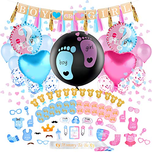 Louvy Gender Reveal Party Supplies – 120-Pc Premium Kit Pink Blue and Gold Boy or Girl Baby Decorations Kit Cake Cupcake Topper Photo Prop Balloons Tassel Garland Ribbon Banner Confetti