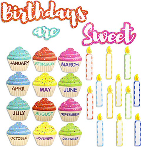 Juvale Classroom Cutouts – Birthday Cupcakes and Candles 63 Piece Set