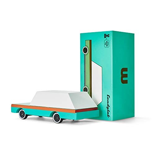 Candylab Toys Wooden Cars CandyCar Teal Wagon Kids Toy Car Model Solid Beech Wood
