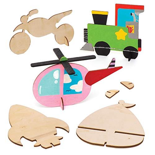 Baker Ross Wooden Transport Stand up Kits Pack of 8 AW717 for Kids to Decorate and Display