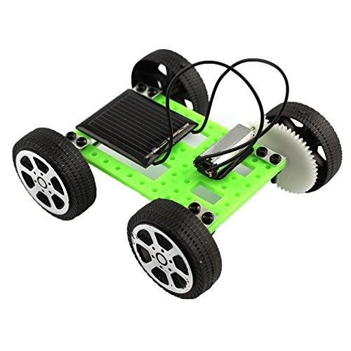 DIY Assemble Toy Set – Han Shi Mini Solar Powered Car Kit Students Children Educational Learning 1 Green