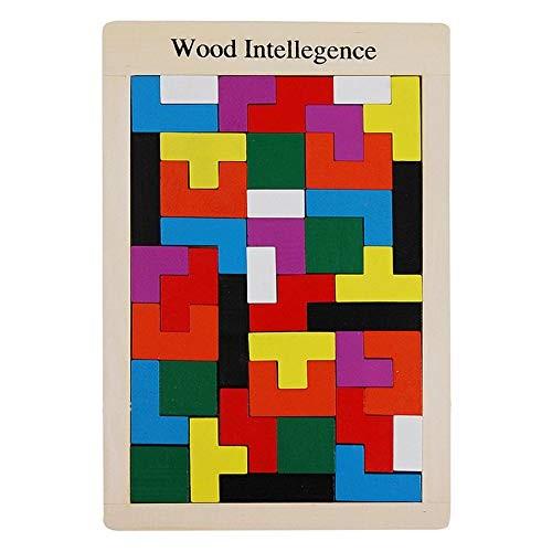 Wooden Building Blocks Set 40 Grain Puzzle Brain Teaser Toys Tetris Game Intelligence Education Gift Colorful Classic Build & Play ToyPremium