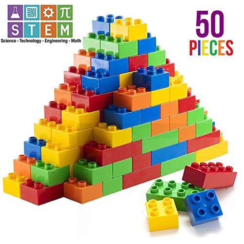 Prextex 50 Piece Classic Big Building Blocks STEM Toy Bricks Set Compatible with All Major Brands Perfect Beginner Pack or Refill for Ages