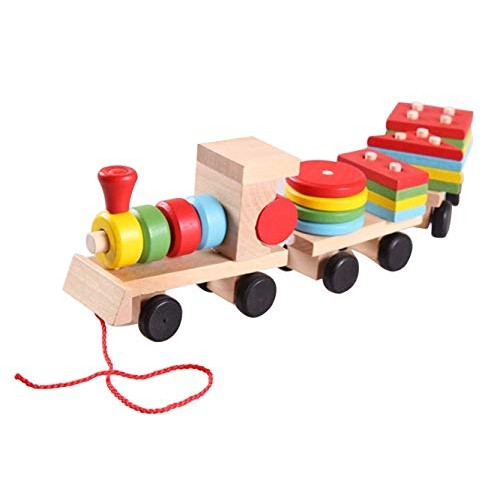 Jollymap Magnetic Building Blocks Children's Educational Early Education Wooden Three-Section Train Toy for Boys and Girls