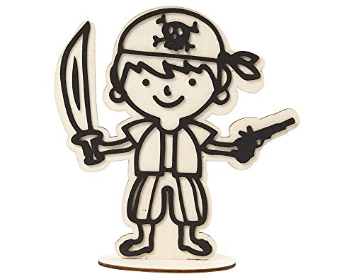 Wooden Pirate Crew Figure for Kids to Decorate – 17cm
