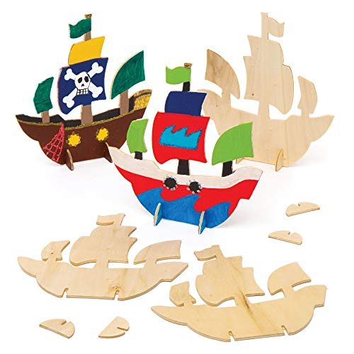 Baker Ross Wooden Stand up Pirate Ship Pack of 6 Slotting Pieces for Kids to Decorate and Assemble Create 3D Perfect Prizes Gifting or a Birthday Party Theme