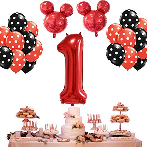 DreamJ 13Pcs 1st Birthday Balloon Decorations 1th Red Mouse Head Balloons and Black Wave Point for Create Unique Party Supplies Set