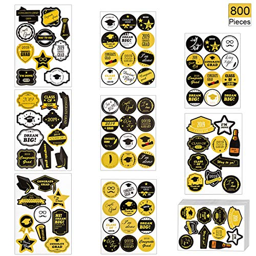 800 PCS 2019 Graduation Stickers 88 Patterns Class of Self Adhesive Decals Kinds Printed Designs Tag Labels for Gift Wrappings EnvelopeSealing Candies Decorative Party Favor