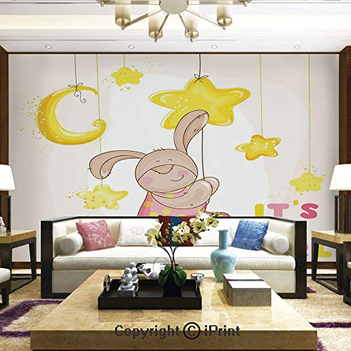 Lionpapa_mural Removable Wall Mural Ideal to Decorate Your Dining RoomCartoon Like Cute Baby Bunny Hanging Stars and Moon Polka Dots Cheerful ArtHome Decor – 100×144 inches