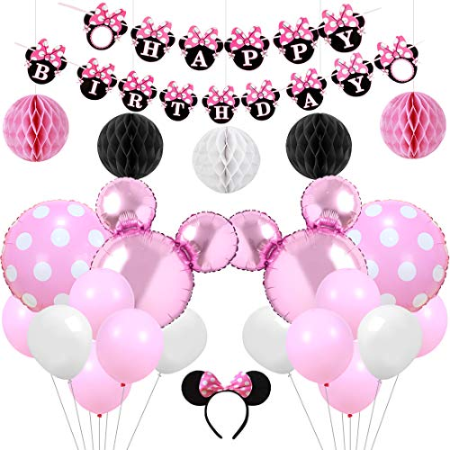 KREATWOW Pink Minnie Themed Party Supplies Decorations Happy Birthday Banner Headband for