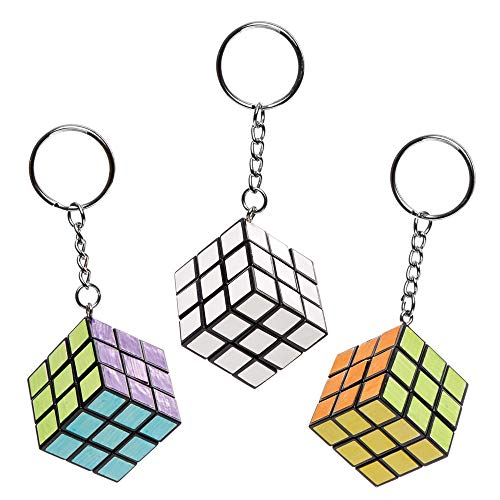 Baker Ross Colour in Magic Puzzle Cube Keyrings Pack of 4 for Kids to Decorate and Attach Key Rings Bags
