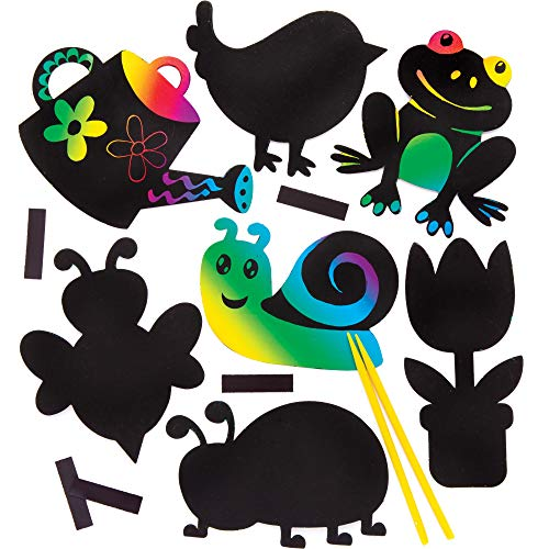 Baker Ross in The Garden Scratch Art Magnets Rainbow Paper with Stylus for Kids to Decorate Pack of 10