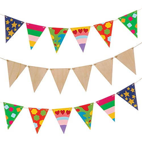 Baker Ross Wooden Bunting Kit Pack of 15 Flags AW599 for Kids to Decorate and Display
